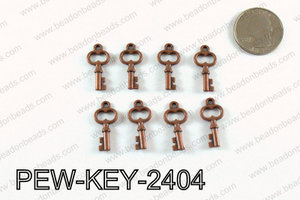 Key charm 24x11mm, Copper PEW-KEY-2404