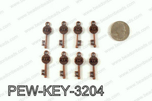 Key charm 32x11mm, Copper PEW-KEY-3204