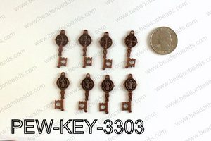 Key charm 33x12mm, Copper PEW-KEY-3303