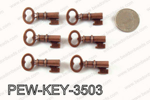 Key 35x16mm, Copper  PEW-KEY-3503