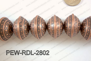 Pewter Bead Rondel 12 pcs 28mm PEW-RDL-2802