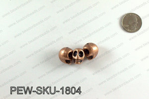 Pewter skull beads 18x14mm, Copper PEW-SKU-1804