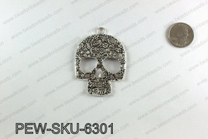 Pewter large skull pendants 63x45mm, Silver PEW-SKU-6301