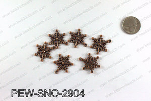 Snowflake charms 29x23mm, Copper PEW-SNO-2904