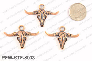 Steer head charms 30x45mm, copper PEW-STE-3003