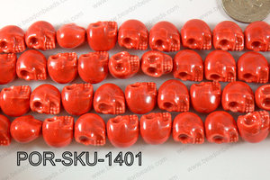 Porcelain Skull 11x14mm red POR-SKU-1401