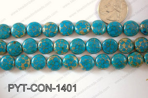 Pyrite Turquoise Composite Coin 12mm PYT-CON-1401