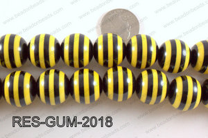 Acrylic Gumball Striped Yellow and Black 20mm RES-GUM-2018