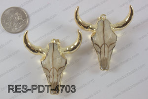 Resin ox head pendant with electroplating gold RES-PDT-4703