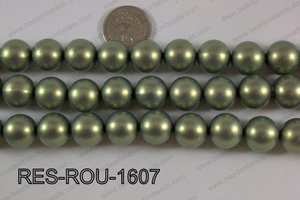 Resin round satin 16mm green RES-ROU-1607