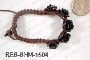Resin Rose Shamballa Bracelet 15mm Black RES-SHM-1504