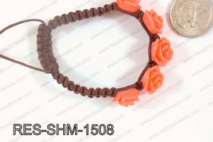 Resin Rose Shamballa Bracelet 15mm Orange RES-SHM-1508