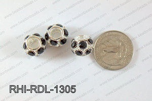 Rhinestone ball Rondelle 13mm black RHI-RDL-1305