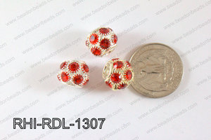 Rhinestone ball Rondelle 13mm red RHI-RDL-1307