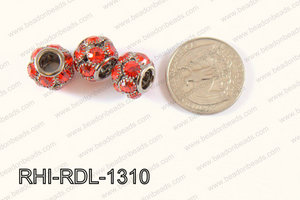 Rhinestone ball Rondelle 13mm gun metal/red RHI-RDL-1310