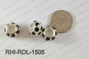 Rhinestone ball Rondelle 15mm black RHI-RDL-1505