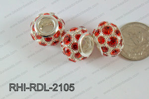 Rhinestone ball Rondelle 15x21mm red RHI-RDL-2105