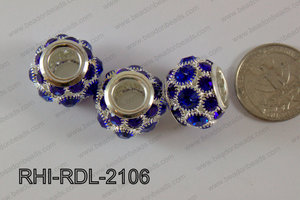 Rhinestone ball Rondelle 15x21mm blue RHI-RDL-2106