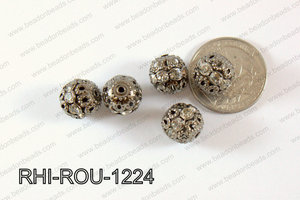 Rhinestone ball Round 12mm gunmetal/clear RHI-ROU-1224