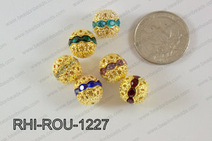 Rhinestone ball Round 12mm gold/multi RHI-ROU-1227
