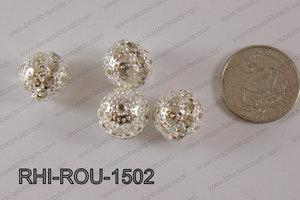 Rhinestone ball Round 15mm silver/clear RHI-ROU-1502