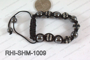 Rhinestone Shamballa Bracelet Black and Clear 10mm RHI-SHM-1009