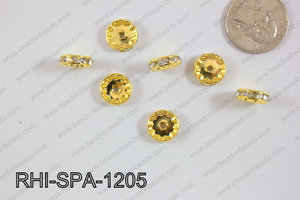 Rhinestone Spacers 12mm RHI-SPA-1205 Gold/clear