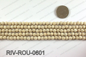 Riverstone fossil beads 6mm RIV-ROU-0601