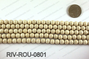 Riverstone fossil beads 8mm RIV-ROU-0801