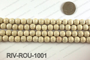 Riverstone fossil beads 10mm RIV-ROU-1001