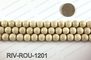 Riverstone fossil beads 12mm RIV-ROU-1201