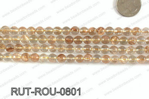 Imitation rutilated quartz faceted round 8mm RUT-ROU-0801