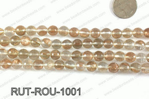 Imitation rutilated quartz faceted round 10mm RUT-ROU-1001