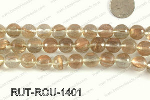 Imitation rutilated quartz faceted round 14mm RUT-ROU-1401
