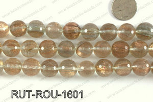 Imitation rutilated quartz faceted round 16mm RUT-ROU-1601