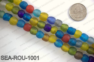 Sea glass beads 10mm SEA-ROU-1001