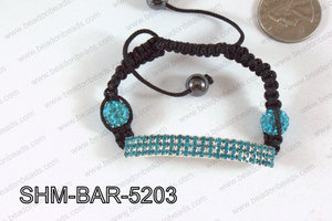 Bar Shamballa Bracelet Blue 52mm SHM-BAR-5203