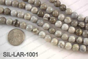 Large hole silver leaf jasper round 10mm SIL-LAR-1001