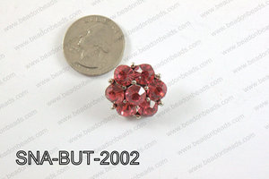 snap button 20 mm dark pink flower SNA-BUT-2002