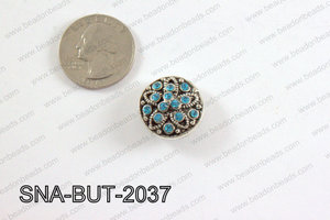 snap button 20 mm light blue flower round SNA-BUT-2037