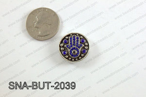 snap button 20 mm light blue hamsa round SNA-BUT-2039