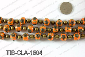 Tibetan style clay copper beads 15mm, Orange TIB-CLA-1504