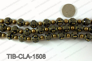 Tibetan style clay copper beads 15mm, Black TIB-CLA-1508