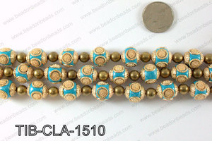Tibetan style clay copper beads 15mm, Light blue TIB-CLA-1510