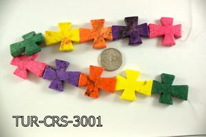 Turquoise Cross 30x36mm 16'' Multi-Color 10 pcs TUR-CRS-3001