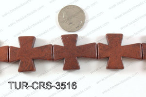 howlite cross 35x30mm brown TUR-CRS-3516