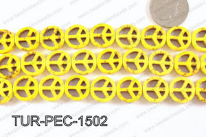 howlite peace yellow 35mm TUR-PEC-1502