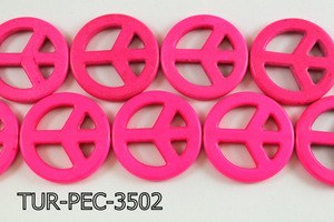 howlite peace hot pink 35mm TUR-PEC-3502