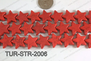 Howlite Star Red 20mm TUR-STR-2006