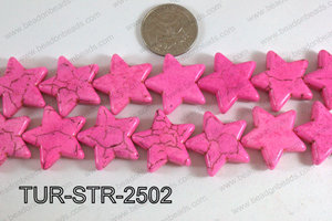 Howlite Star Hot Pink 25mm TUR-STR-2502